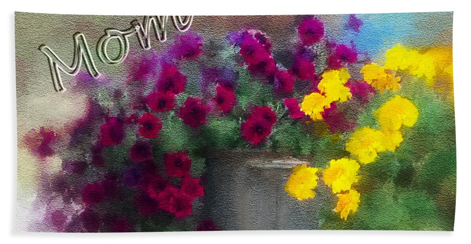 Mom Hand Towel featuring the digital art Mom Day 2014 by Susan Kinney