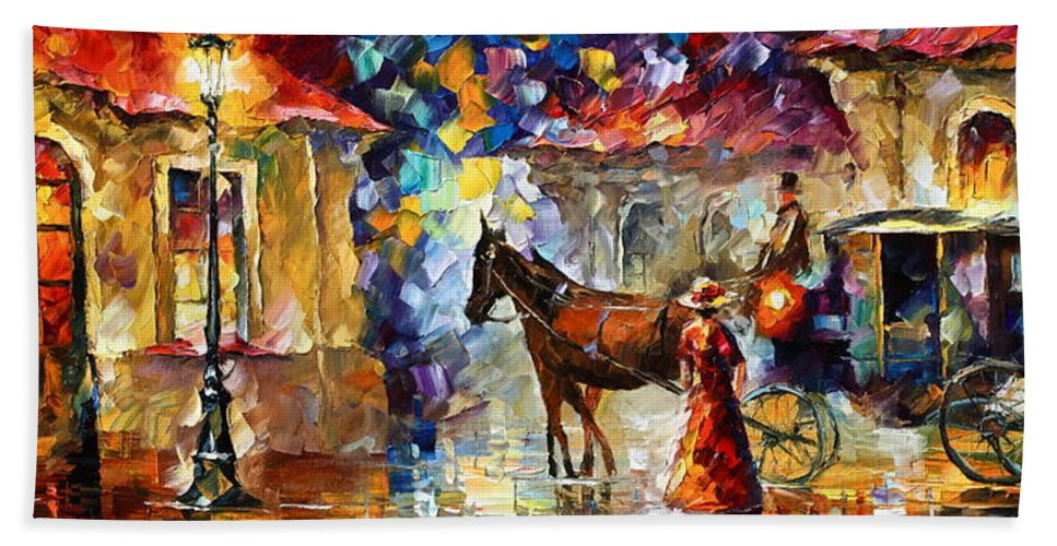 Afremov Bath Sheet featuring the painting Momentary Stop by Leonid Afremov