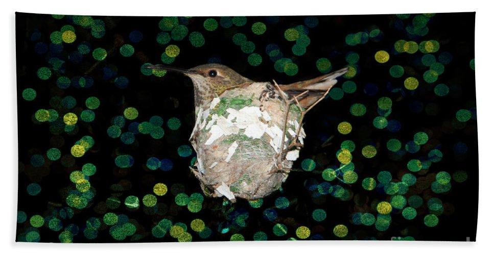 Mommy Hummingbird In The Nest Hand Towel featuring the photograph Mommy Hummingbird In The Nest by Mariola Bitner