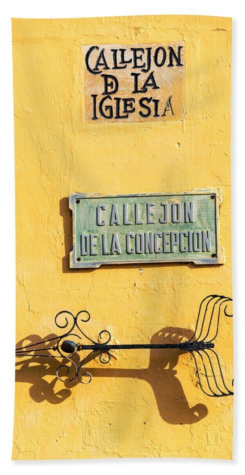 Wall Hand Towel featuring the photograph Mompox Street Signs by Jess Kraft