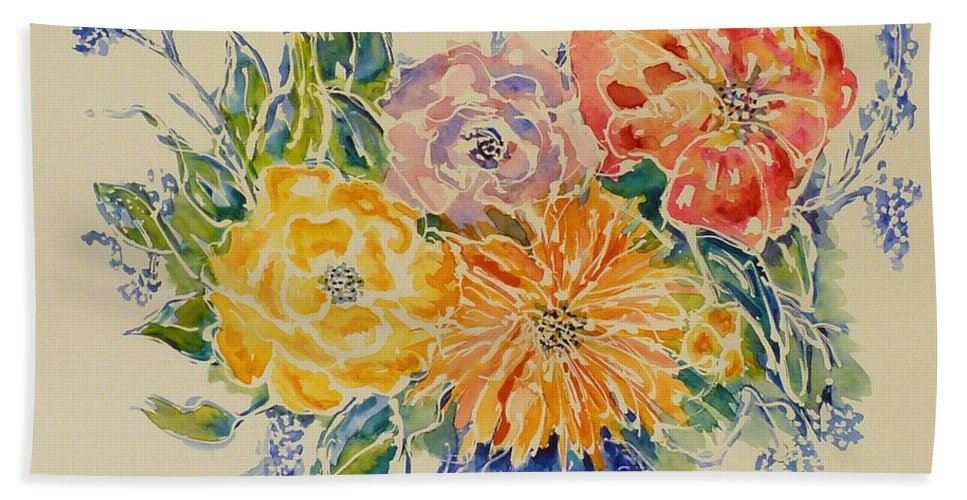 Floral Bath Sheet featuring the painting Bouquet Of Love by Kim Shuckhart Gunns
