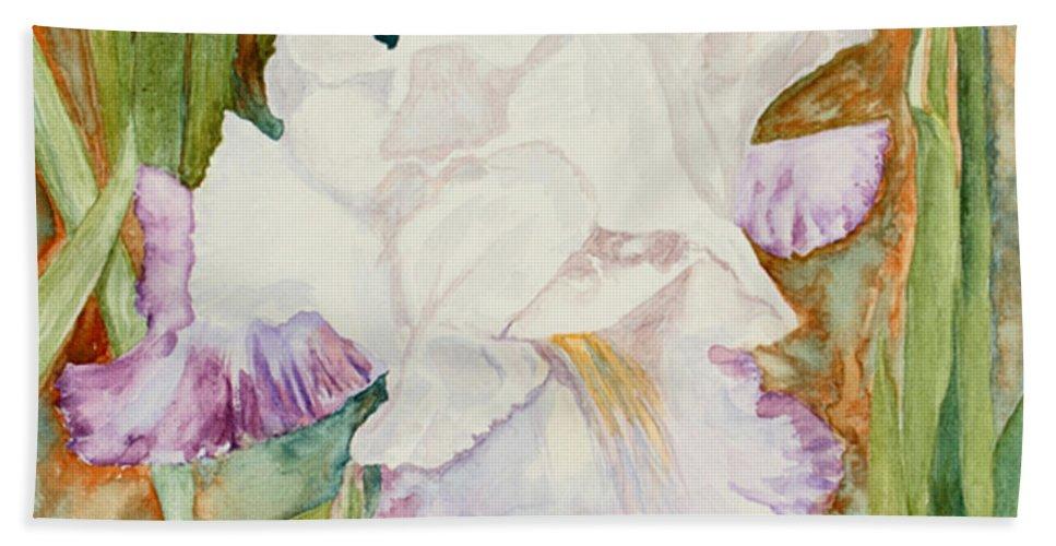Iris Bath Sheet featuring the painting Mom's Iris by Mary Benke