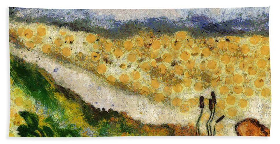 Nature Hand Towel featuring the painting Momzie's Nature -t02-2v03f by Variance Collections