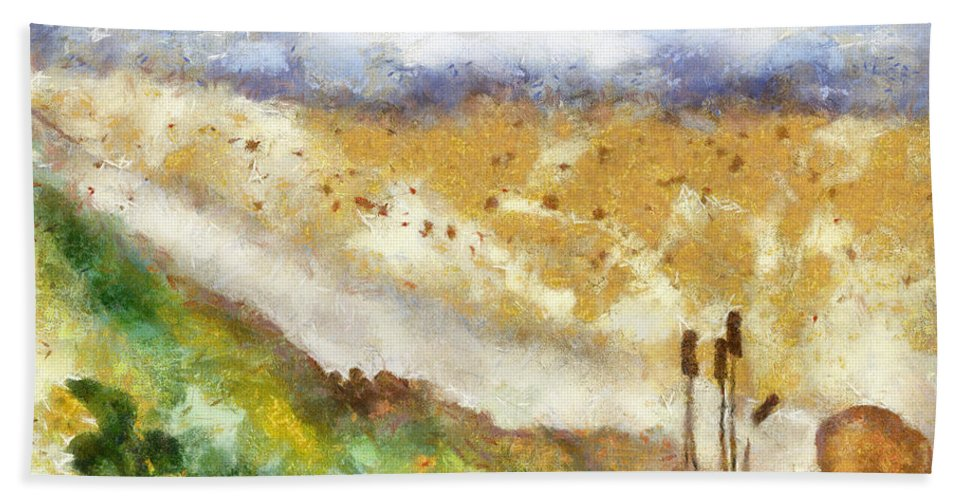 Nature Hand Towel featuring the painting Momzie's Nature -t0202f by Variance Collections