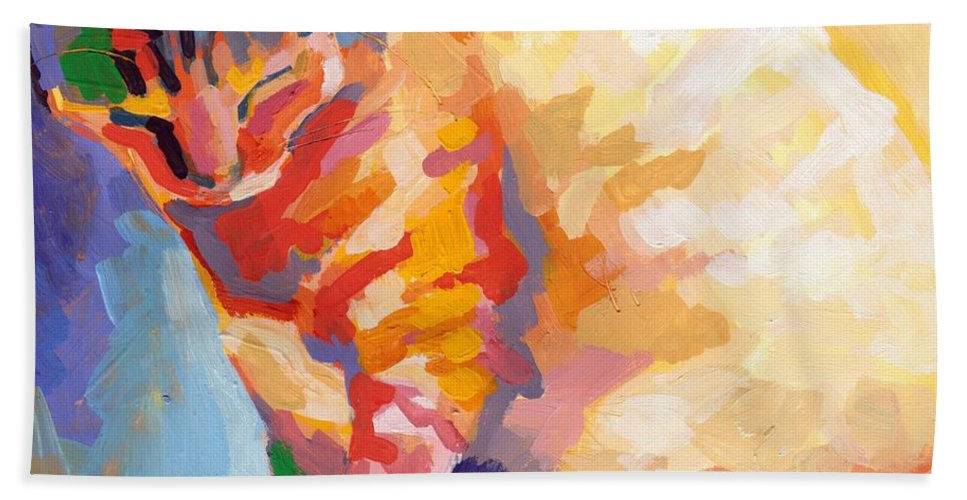 Mona Lisa Hand Towel featuring the painting Mona Lisa's Rainbow by Kimberly Santini