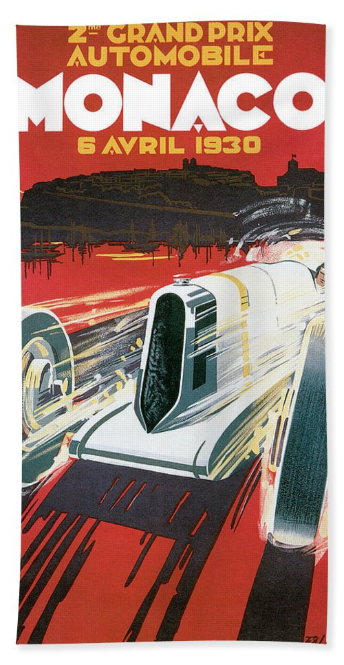 Cars Bath Sheet featuring the drawing Monaco Grand Prix Vintage Poster by World Art Prints And Designs