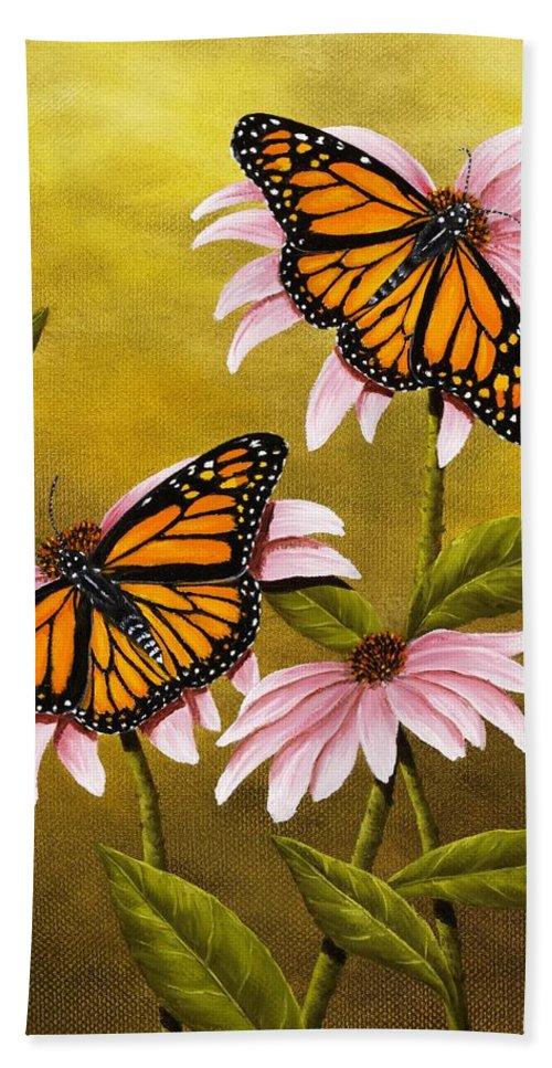 Animal Bath Sheet featuring the painting Monarchs And Coneflower by Rick Bainbridge