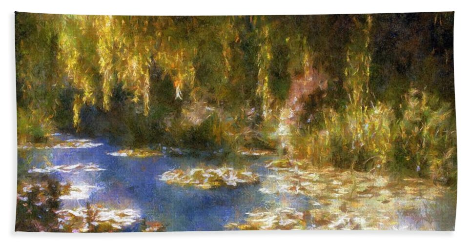 Garden Hand Towel featuring the painting Monet After Midnight by RC DeWinter