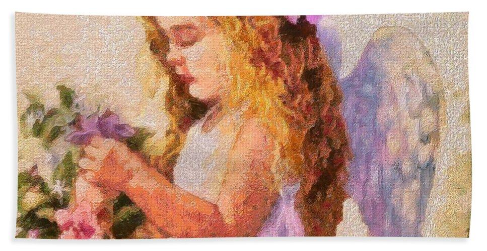 Monet Silked Angel Bath Sheet featuring the digital art Monet Silked Angel by Catherine Lott