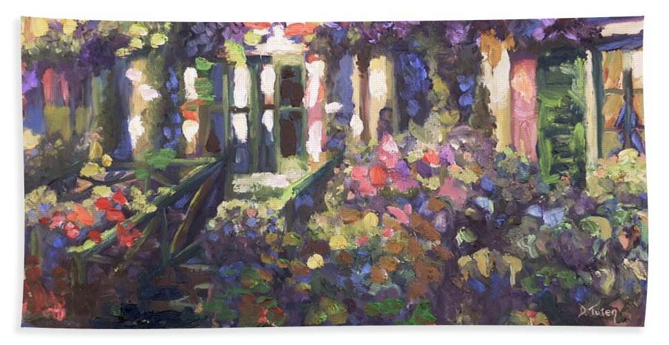 Monet Hand Towel featuring the painting Monet's Home In Giverny by Donna Tuten