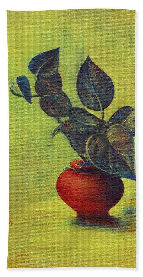 Money Plant Bath Towel featuring the painting Money Plant - Still Life by Usha Shantharam
