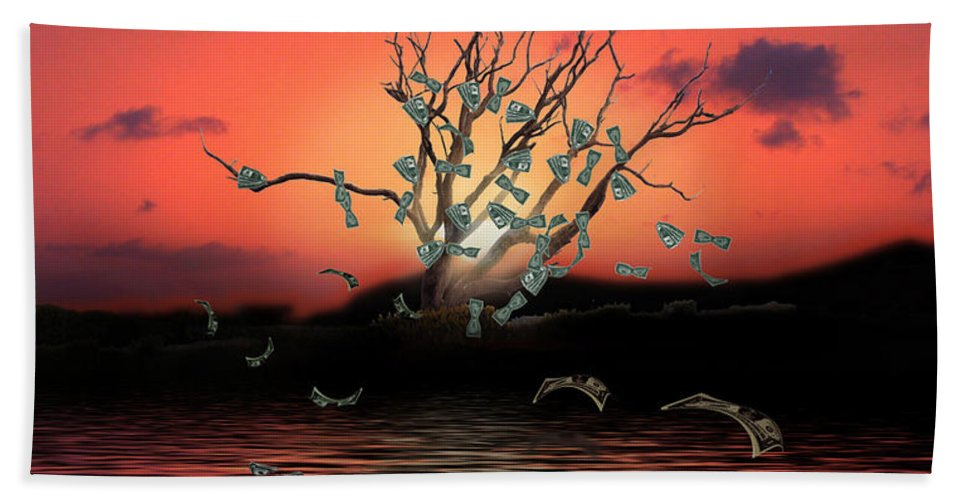Money Tree Hand Towel featuring the digital art Money Tree Sunset by Gravityx9  Designs