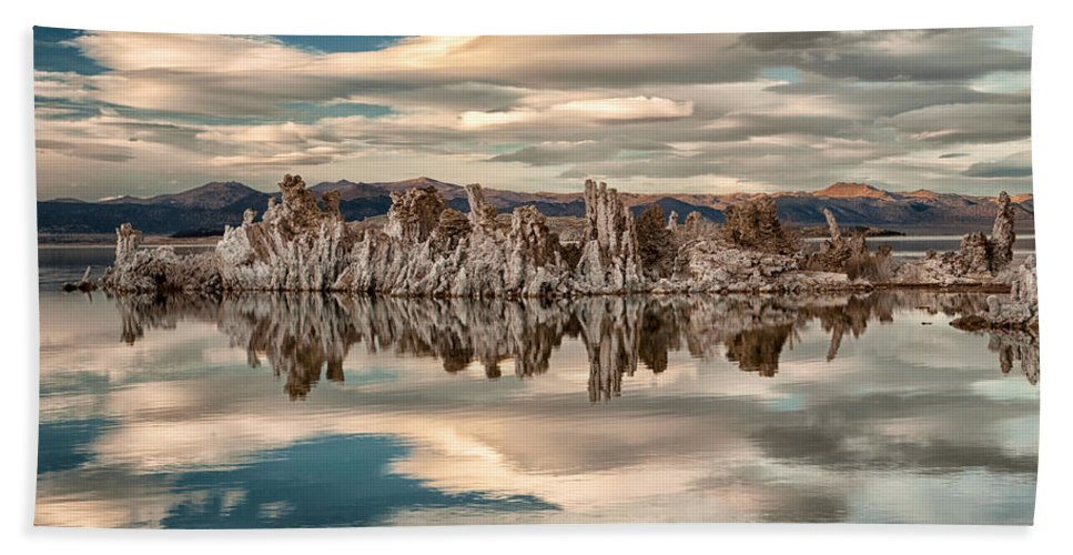 Lake Bath Sheet featuring the photograph Mono Lake Reflections by Cat Connor