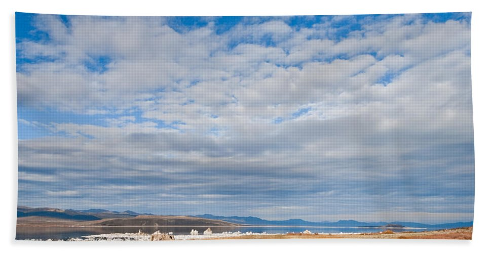 Autumn Hand Towel featuring the photograph Mono Lake Tufa Formations by Jeff Goulden