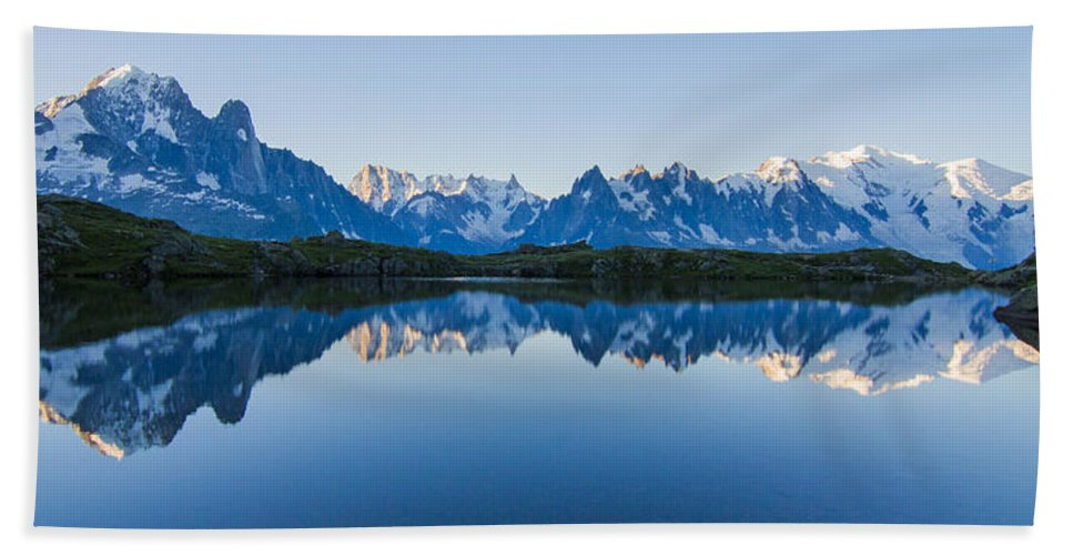 Alpine Ibex Bath Sheet featuring the photograph Mont Blanc Massif Panorama by Mircea Costina Photography