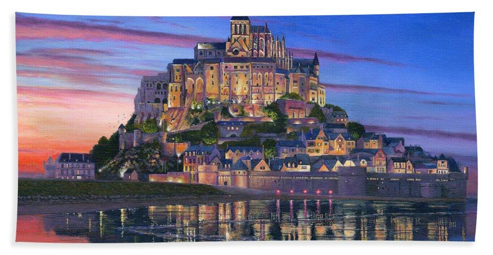 Architecture Art Hand Towel featuring the painting Mont Saint-michel Soir by Richard Harpum