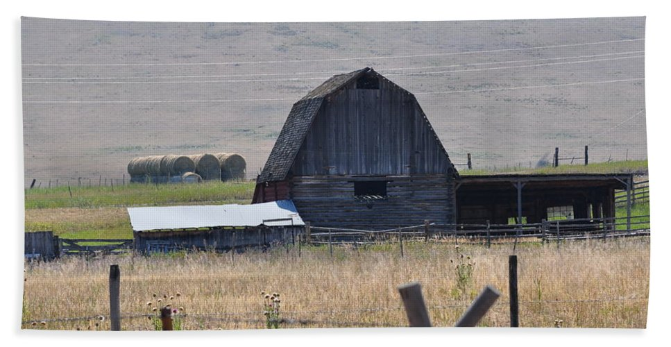 Montana Bath Sheet featuring the photograph Montana Barn by Image Takers Photography LLC
