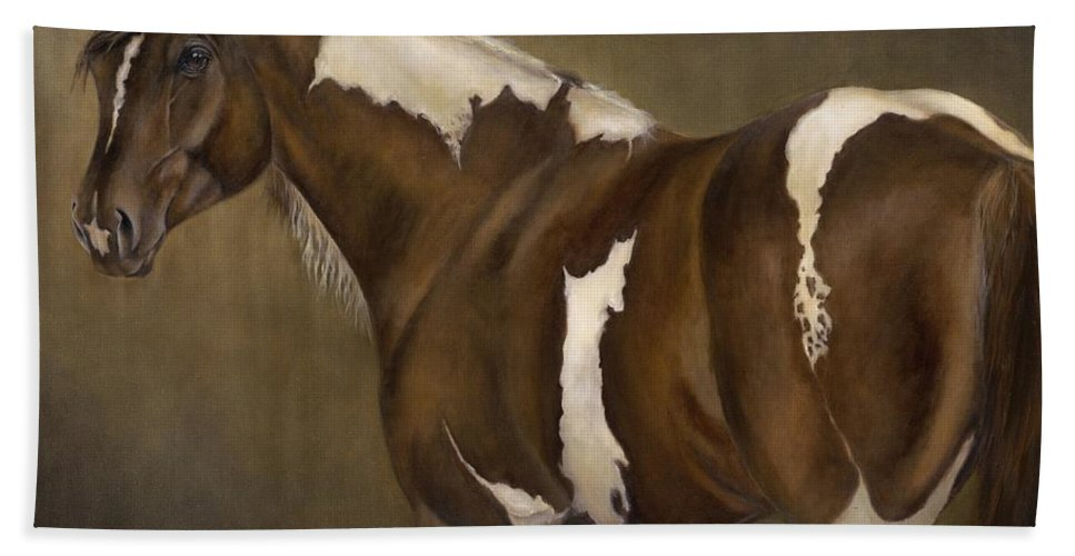 Stallion Hand Towel featuring the painting Montana by Catherine Davis