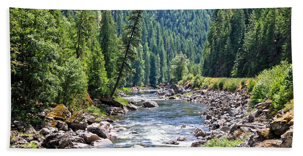 Trees Bath Sheet featuring the photograph Montana River And Trees by Athena Mckinzie