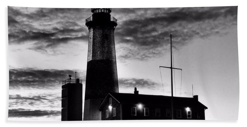 Black Hand Towel featuring the photograph Montauk Point by DJ Florek