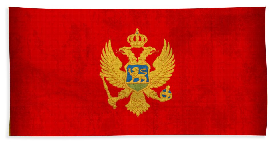 Montenegro Hand Towel featuring the mixed media Montenegro Flag Vintage Distressed Finish by Design Turnpike