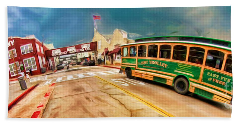 Monterey Ca Bath Sheet featuring the photograph Monterey And Cable Car Bus by Blake Richards