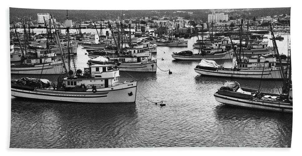 Fishing Hand Towel featuring the photograph Monterey Harbor Full Of Purse-seiner Fishing Boats California 1945 by California Views Archives Mr Pat Hathaway Archives
