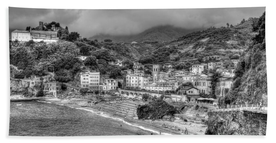 Black And White Bath Sheet featuring the photograph Monterosso Al Mare - Cinque Terre In Grey by James Anderson