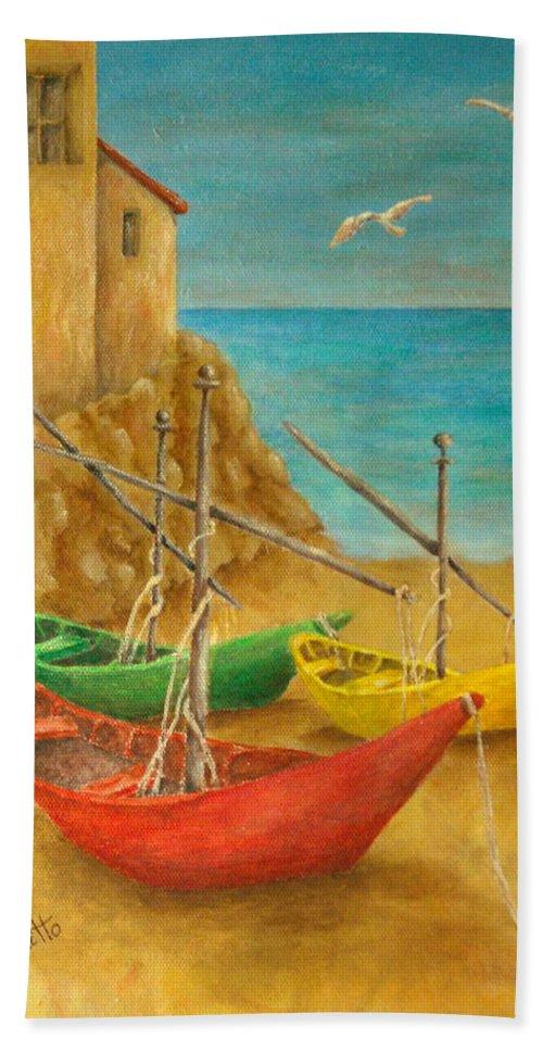 Pamela Allegretto Franz Bath Sheet featuring the painting Monterosso On Riviera Di Levante by Pamela Allegretto
