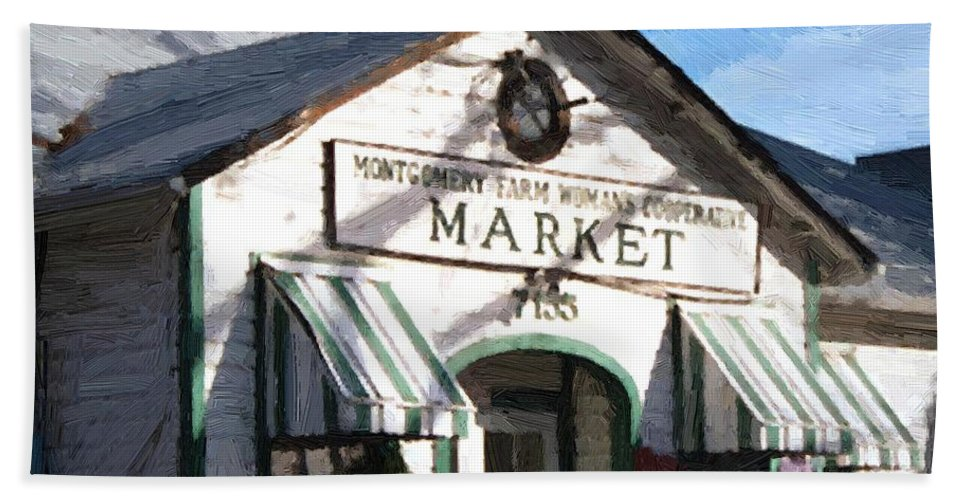 Americana Bath Towel featuring the painting Montgomery County Market by RC deWinter