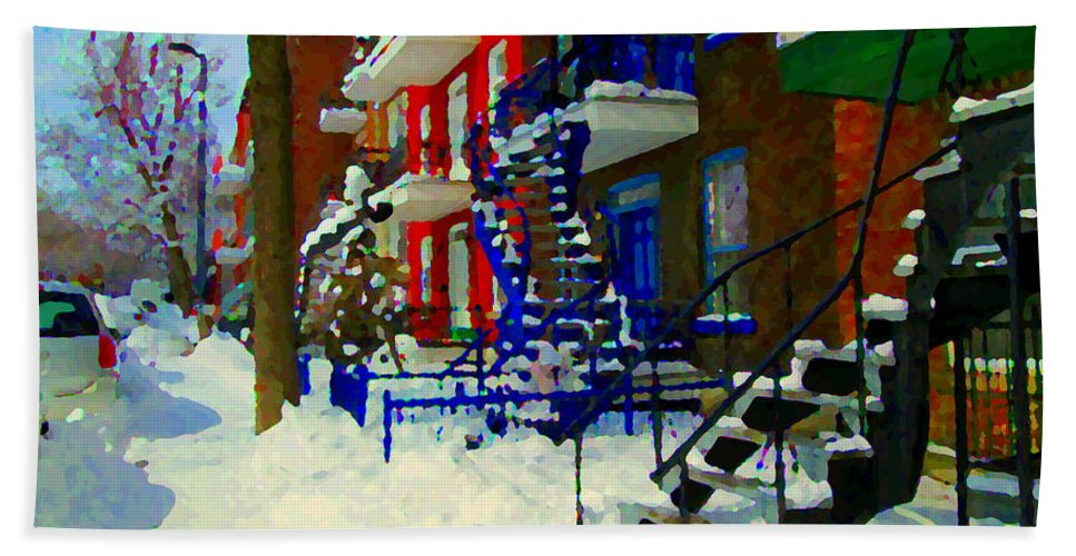 Montreal Bath Sheet featuring the painting Montreal Art Streets Of Verdun Winter Scenes Winding Staircases Snowscenes Carole Spandau by Carole Spandau