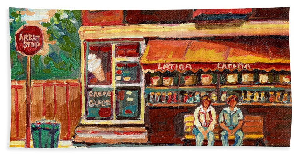 Montreal Bath Towel featuring the painting Montreal Street Scene Paintings by Carole Spandau