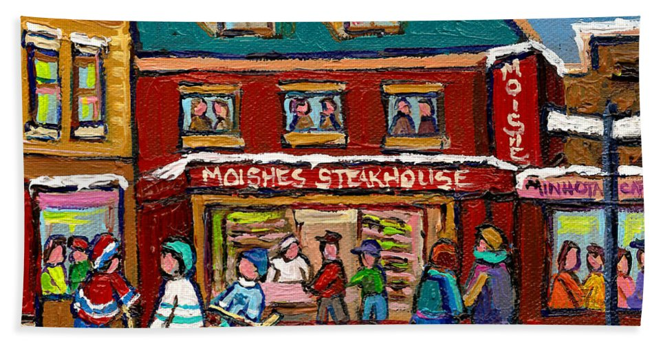 Moishes Steakhouse Bath Sheet featuring the painting Montreal Winter Hockey At Moishes by Carole Spandau
