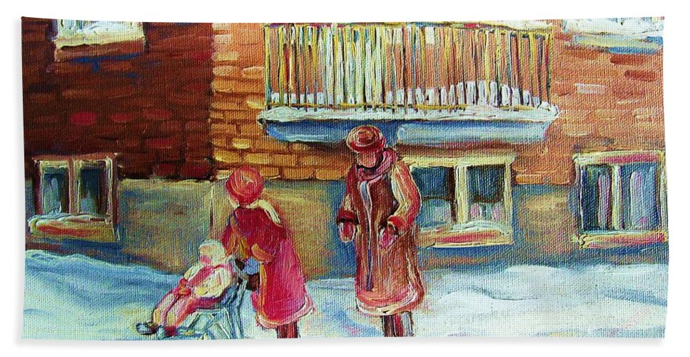 Montreal Bath Towel featuring the painting Montreal Winter Scenes by Carole Spandau