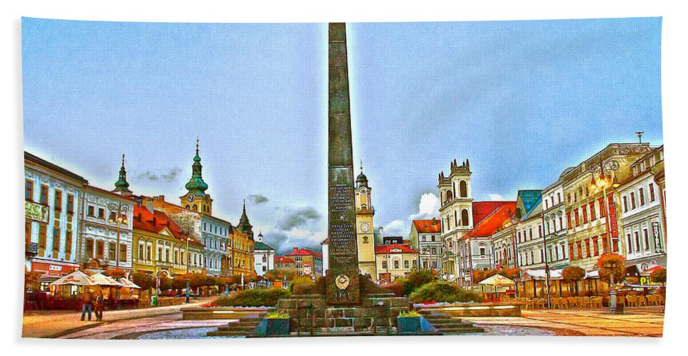Slovakia Bath Sheet featuring the photograph Monument In B.bystrica by Alex Art and Photo