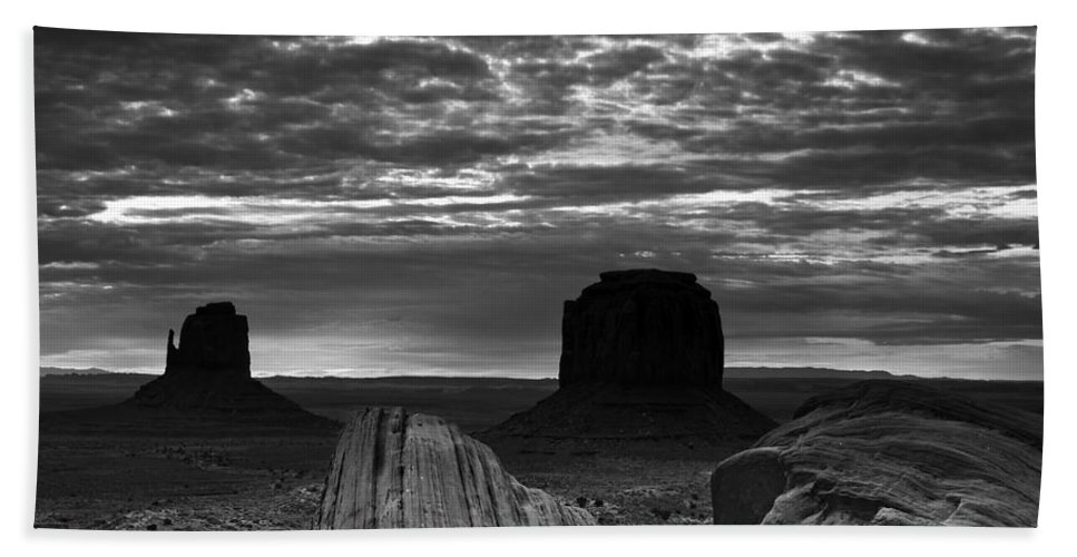 Atmosphere Bath Sheet featuring the photograph Monument Valley 001 by Ingrid Smith-Johnsen