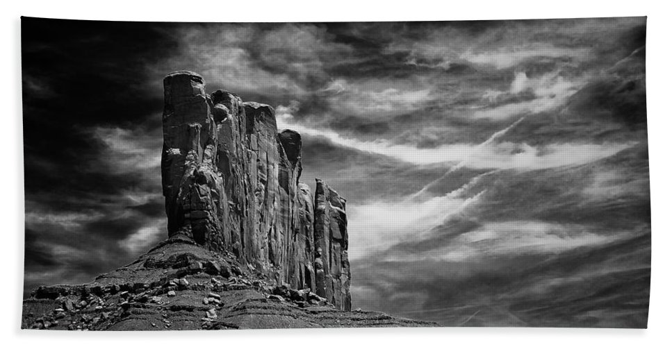 Arizona; Arizona Canyon; Canyon; United States; Usa; Southwest; Clouds; America; American; Beauty; Black; Deep; Desert; Environment; Erosion; Formation; Geology; Grand; Bath Sheet featuring the photograph Monument Valley 011 by Ingrid Smith-Johnsen