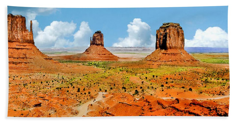Native American Art Bath Sheet featuring the painting Monument Valley In Spring Panoramic Painting by Bob and Nadine Johnston