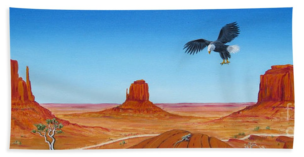 Monument Valley Hand Towel featuring the painting Monument Valley by Jerome Stumphauzer