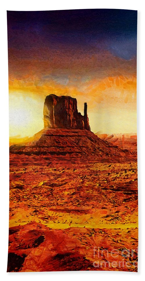 Monument Valley Bath Sheet featuring the painting Monument Valley by Mo T