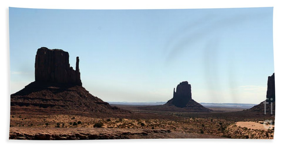 Monument Valley Bath Sheet featuring the photograph Monument Valley Panorama by Christiane Schulze Art And Photography