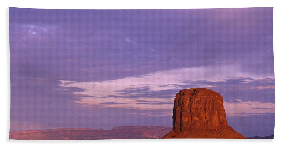 Adventure Hand Towel featuring the photograph Monument Valley Red Rock Formations At Sunrise by Jim Corwin