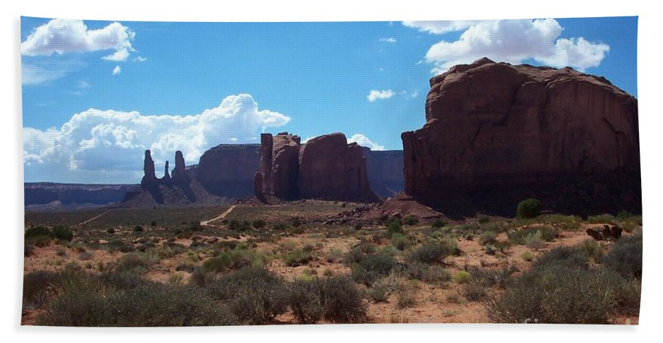 Monument Hand Towel featuring the photograph Monument Valley Scenic View by Christiane Schulze Art And Photography