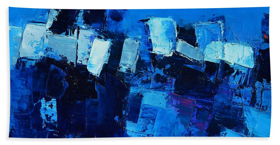 Abstract Hand Towel featuring the painting Mood In Blue by Elise Palmigiani