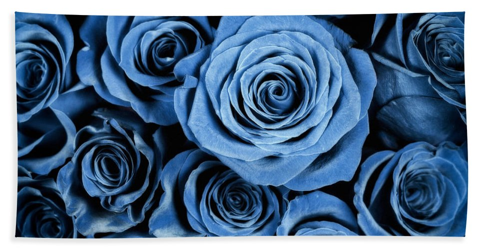 3scape Hand Towel featuring the photograph Moody Blue Rose Bouquet by Adam Romanowicz