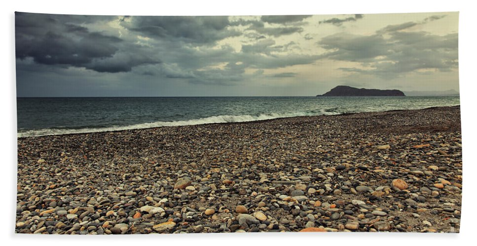 Island Hand Towel featuring the photograph Moody Landscape by Sophie McAulay