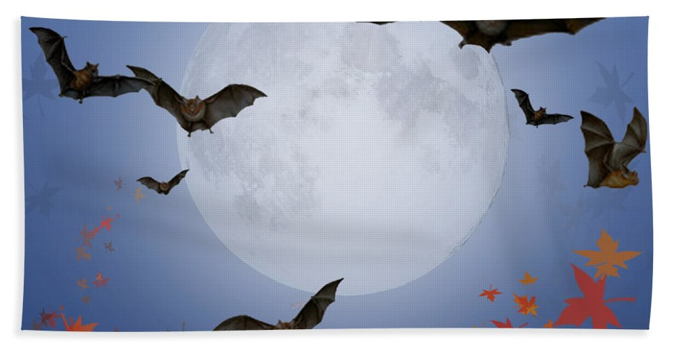 Halloween Hand Towel featuring the digital art Moon And Bats by Melissa A Benson