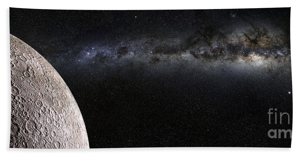 Abstract Hand Towel featuring the photograph Moon And Galaxy. by Jan Brons