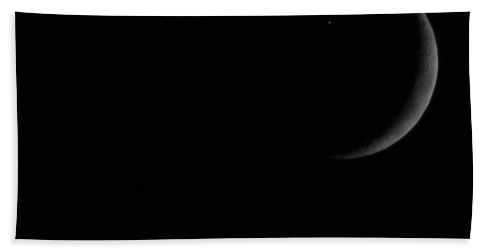 Moon Hand Towel featuring the photograph Moon And Star by Dan McCafferty