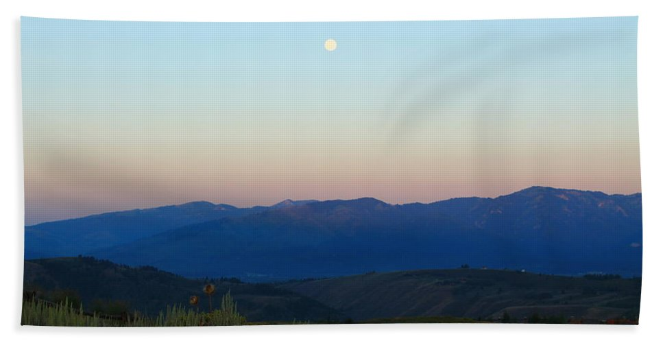 Jackson Hole Hand Towel featuring the photograph Moon And The Tetons by Catie Canetti